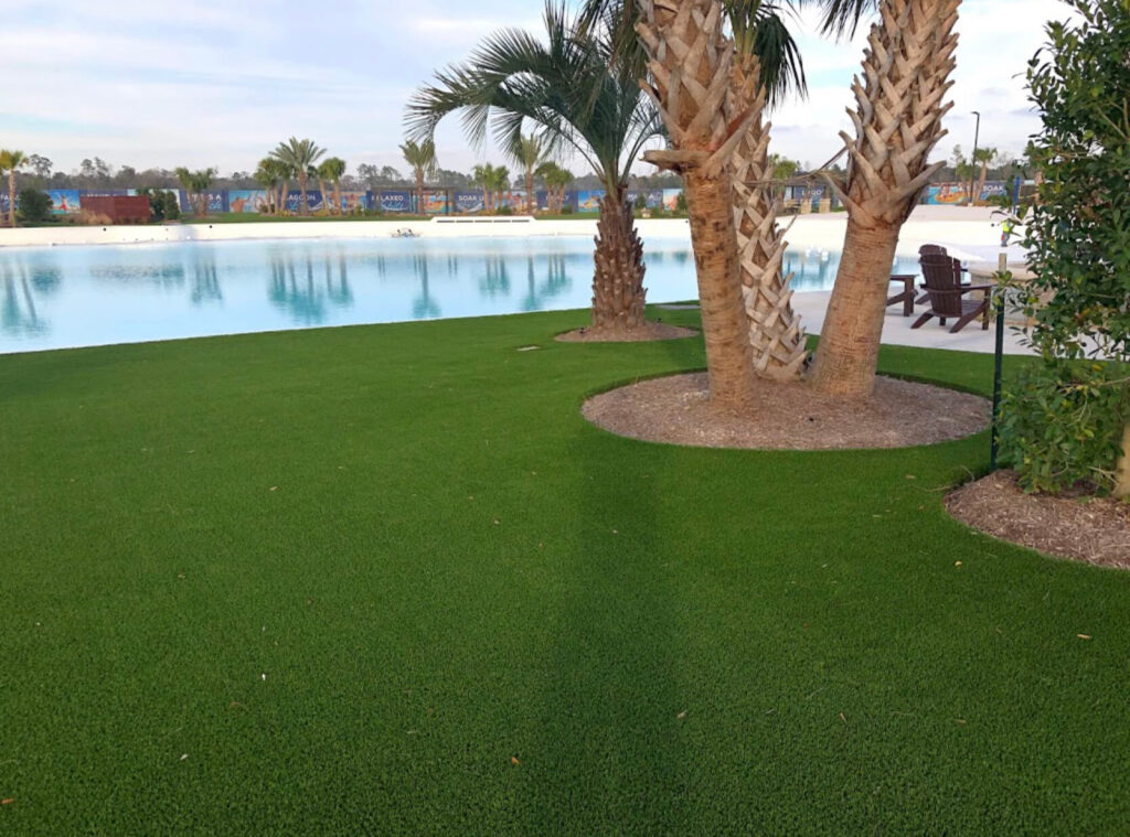 resort patio with artificial turf