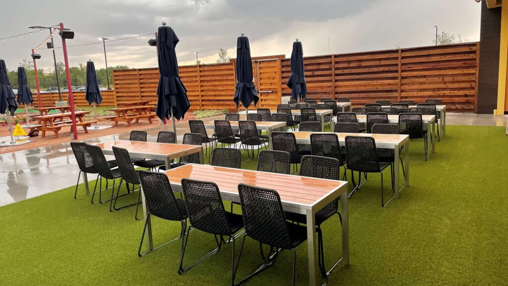artificial turf installed on restaurant patio