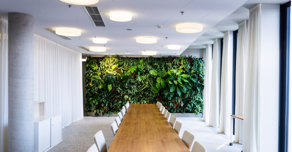artificial green wall in office