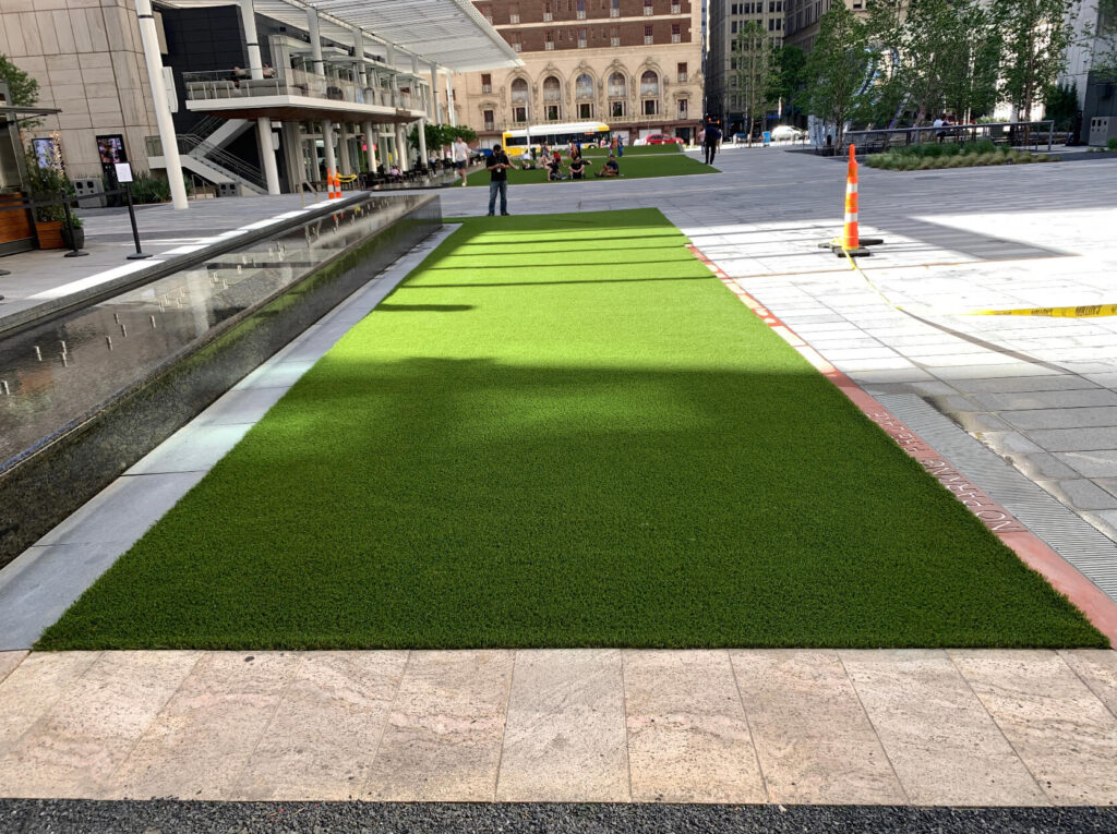 artificial turf outside of office building